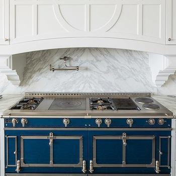 blue la cornue cornufe range with grey marble cooktop. Black Bedroom Furniture Sets. Home Design Ideas