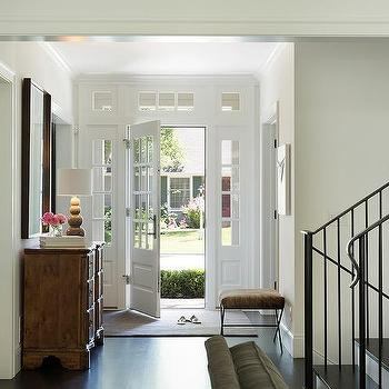 Glass Pane Front Door With Transom Windows And Sidelights