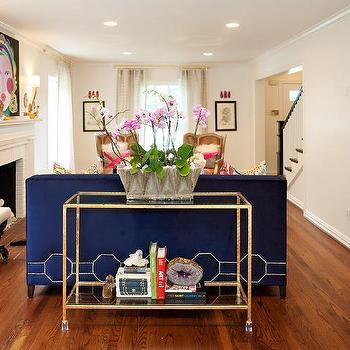 Blue Velvet Sofa With Octagon Nailhead Trim