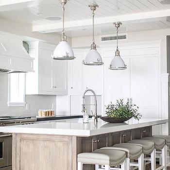 White Enamel Industrial Kitchen Pendant Lights Design Ideas