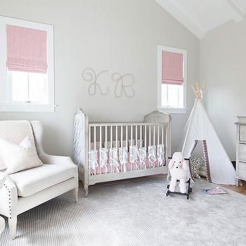 Gray And Blue Nursery With Marcelle Crib Transitional