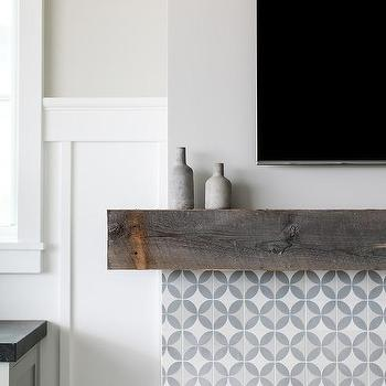 White And Gray Cement Fireplace Tiles - Design photos
