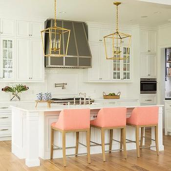 Pink Upholstered Kitchen Counter Stools Design Ideas