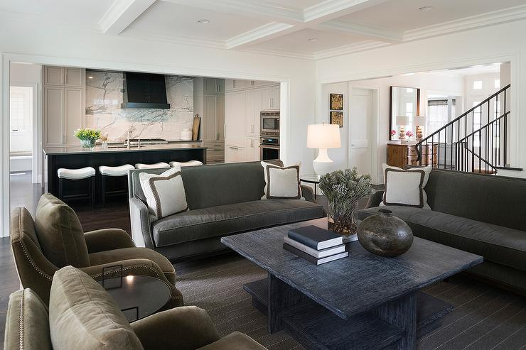 ... Living Rooms · ». Charcoal Gray Sofas With Black Wood Coffee Table