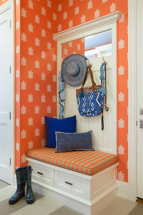 Terrific Orange Mudroom With Corner Built In Bench Contemporary Ibusinesslaw Wood Chair Design Ideas Ibusinesslaworg