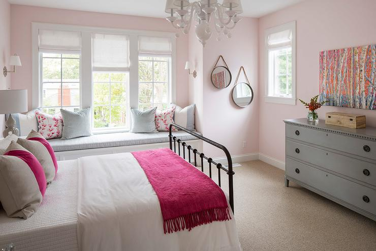 light pink and black bedroom black metal bed with pink and gray bedding transitional 19050