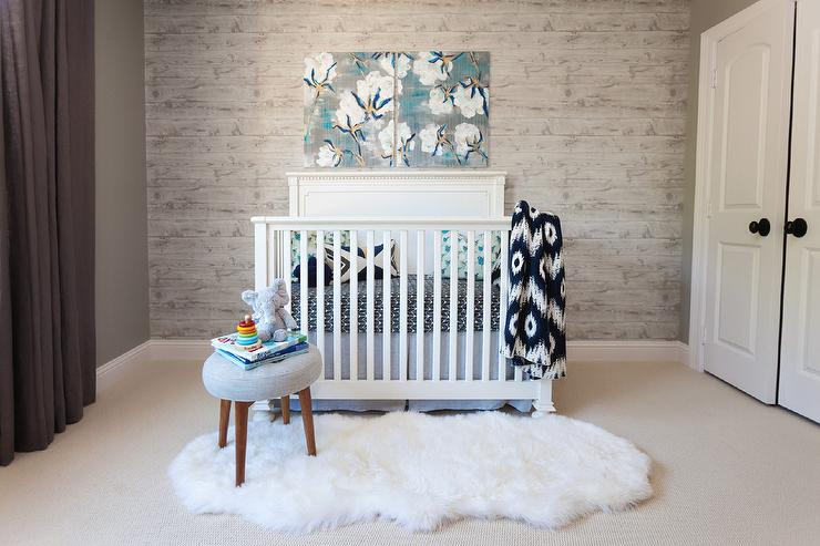 Blue Canvas Art Over Ivory Crib Ten Transitional Nursery