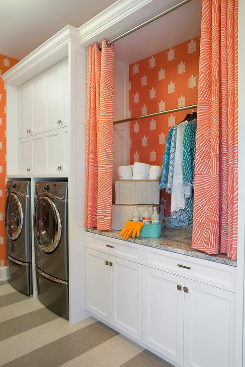 Hicks Hexagon Wallpaper Transitional Laundry Room