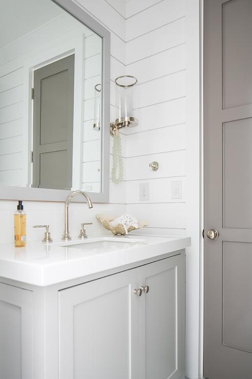 Gray 3 Panel Bathroom Door Cottage