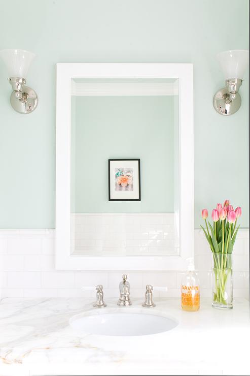 Mint green bathroom walls with white subway tiles for Bathroom decor green walls