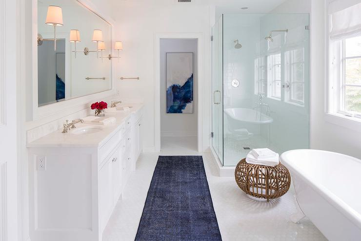 White And Blue Contemporary Bathroom With Dark Blue Overdyed Rug - Gray bathroom runner rug for bathroom decorating ideas