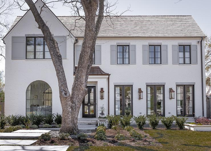 White Brick Painted Home with Dove Gray Shutters - Transitional ...