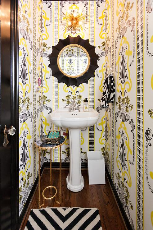 Clad In Yellow And Gray Print Wallpaper, This Stunning Yellow And Gray  Contemporary Powder Room Boasts A Black Spider Web Mirror Mounted Above A  White ...