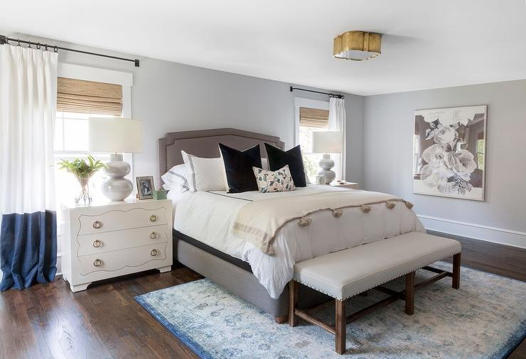 Gray Linen Bed with Blue Rug - Transitional - Bedroom