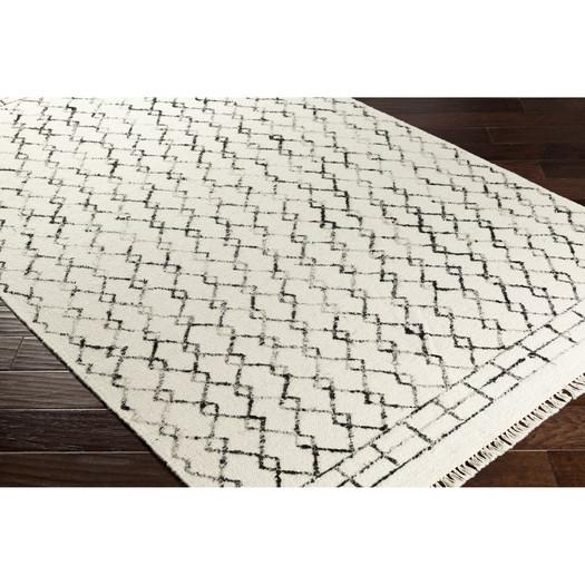 frahm hand woven neutral black area rug