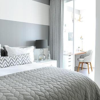 White And Gray Striped Bedroom Wall