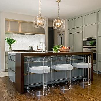 Walnut kitchen hood with nickel trim contemporary kitchen - Kitchen island decorative trim ...
