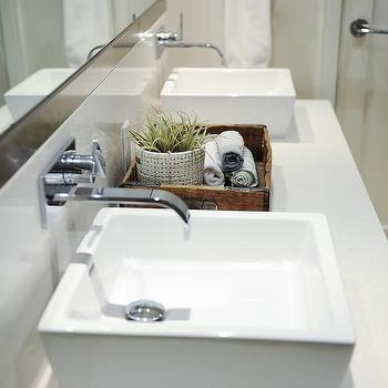 Master Bathroom With Square Vessel Sinks
