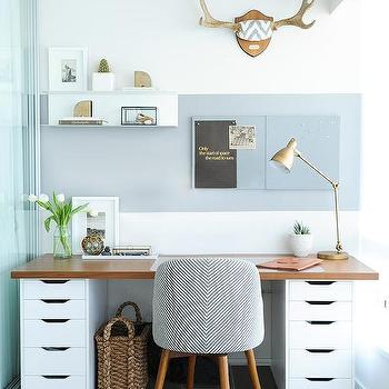 Wood Countertop Desk On File Cabinets View Full Size. Contemporary Home  Office ...