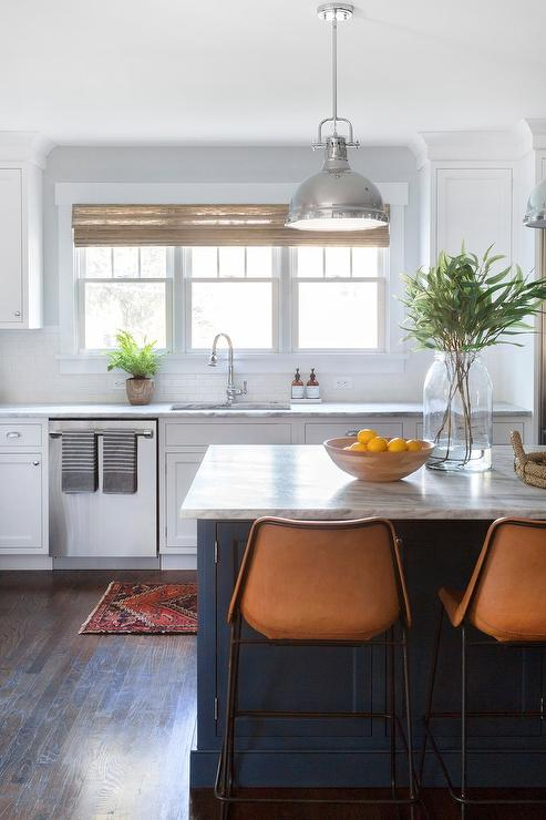 Blue Kitchen Island With Orange Leather Barstools Blue Leather Bar Stools A96