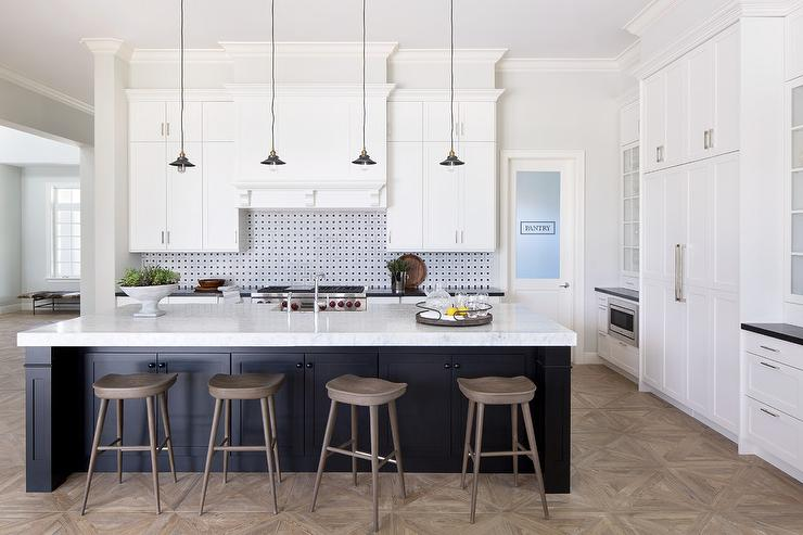 Black Kitchen Island with Gray Wash Wood Barstools Contemporary