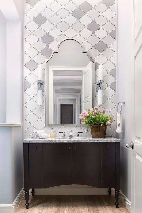 White And Gray Arabesque Wall Tiles Transitional Bathroom