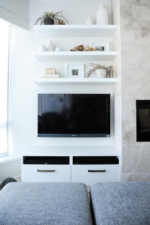 Three Floating Shelves Over Wall Mount TV - Transitional - Living Room