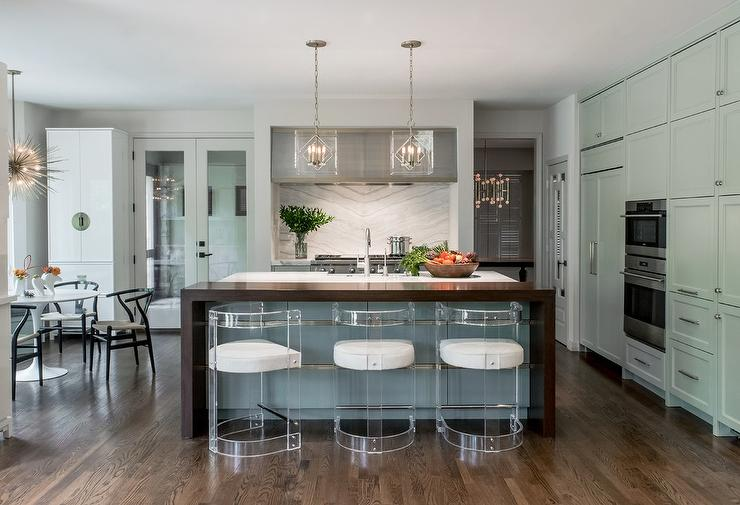Superieur Gray Kitchen Island With Gold Trim