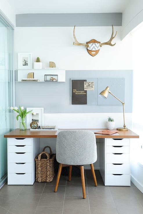 Attrayant Wood Countertop Desk On File Cabinets
