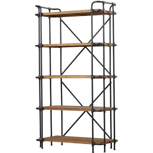 Industrial Wood Iron Etagere Bookcase