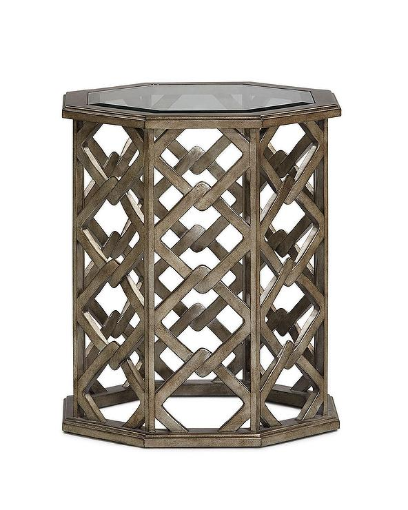 Brucie Brass Glass Top End Table