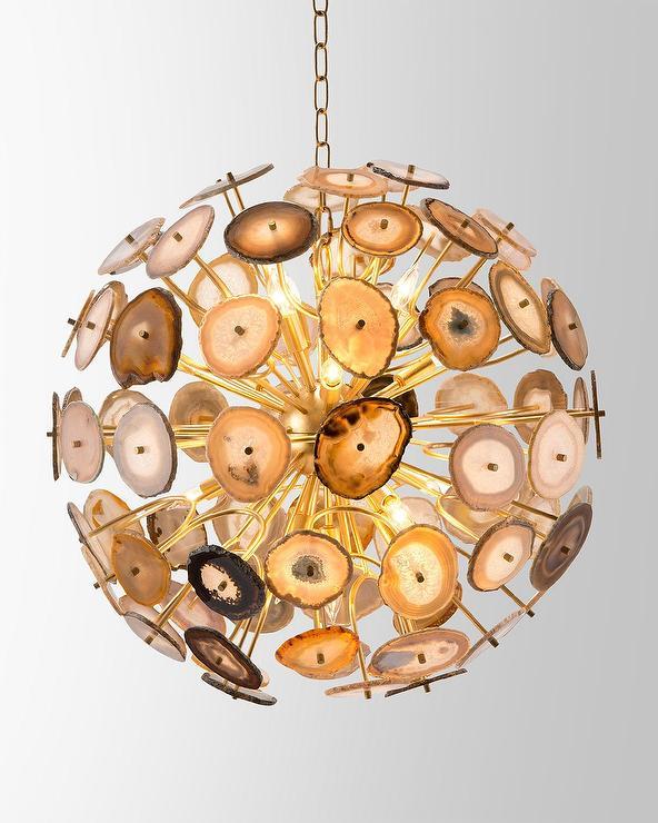 agate 12 light sliced orb pendant