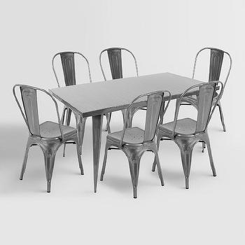 Charming Talise Metal Farmhouse Dining Table Chairs Pictures Gallery