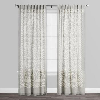 Leno Ivory Gray Sheer Cutwork Curtains