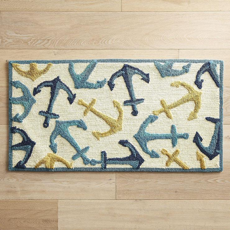 Nautical Anchors Blue Yellow Rug - Nautical Bathroom Rug - Products, Bookmarks, Design, Inspiration