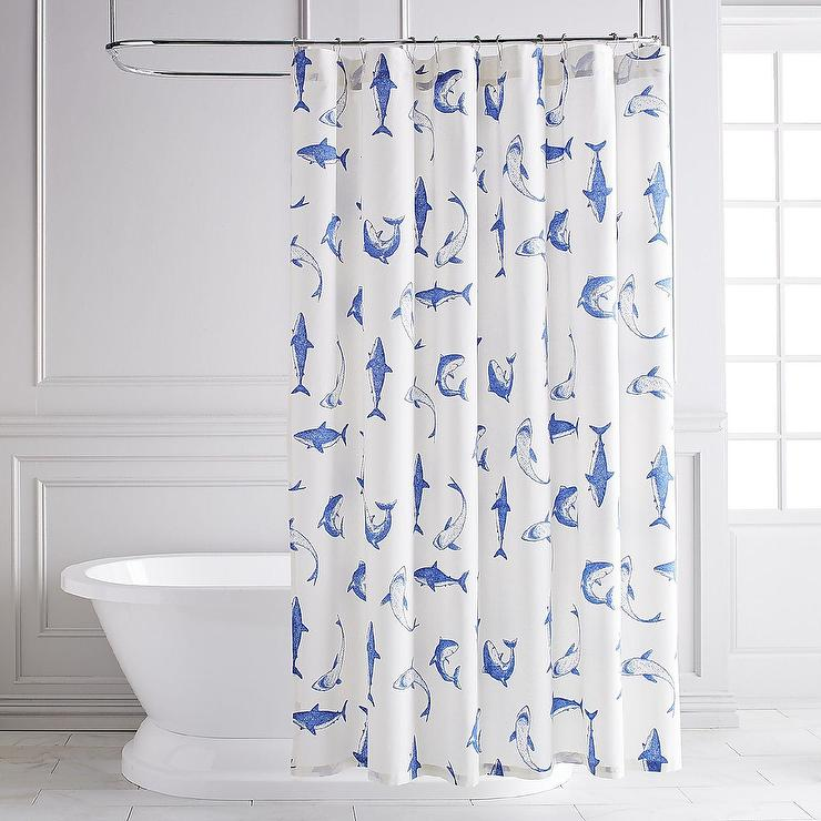 Wite Blue Shark Shower Curtain