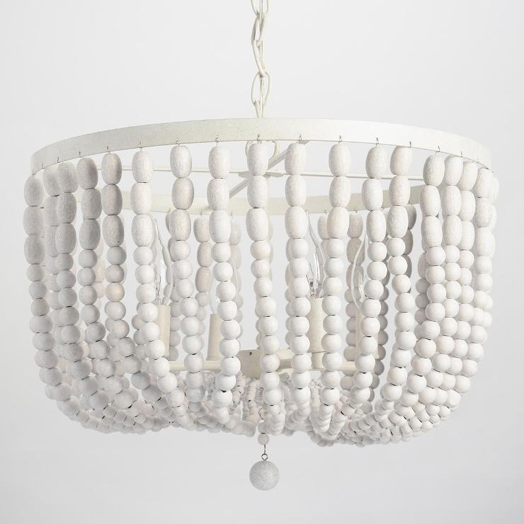 antique whitewash wood bead chandelier
