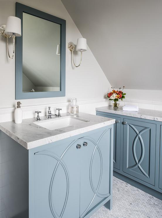 Blue Washstand With Eclipse Cabinet Doors Transitional Bathroom
