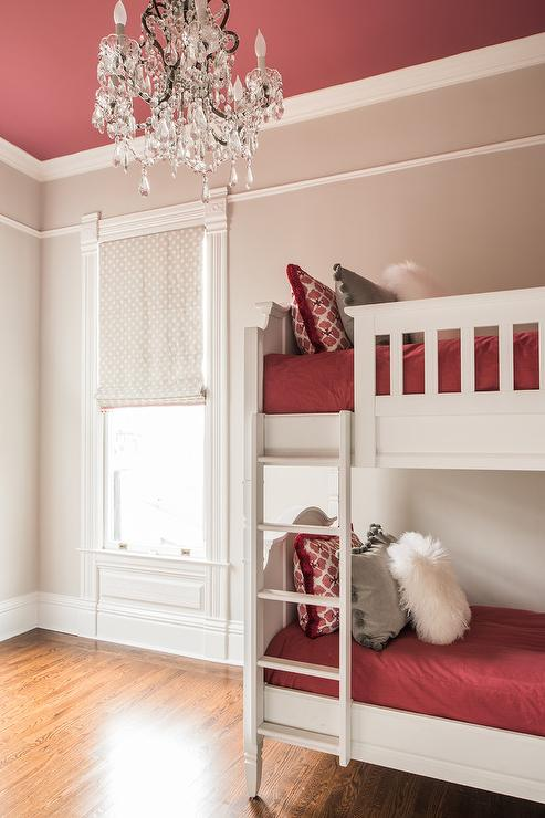 Gray and Red Girls Bedroom with Red Ceiling