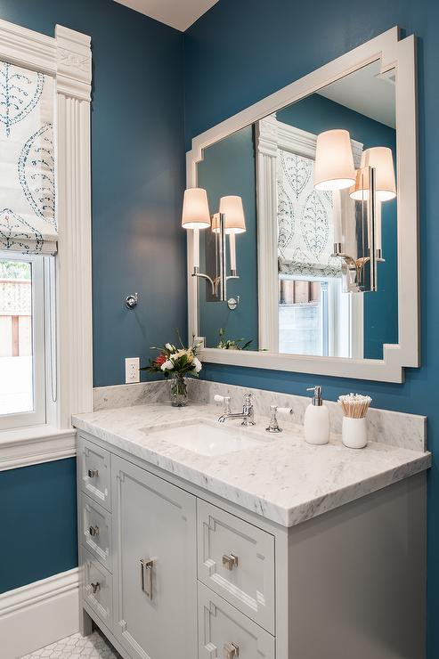 Light Gray and Blue Bathroom Color Scheme - Transitional ...