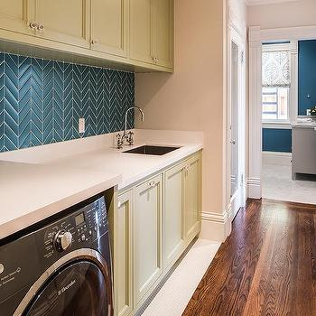 Olive Green Laundry Room Cabinets With Blue Chevron Tiles