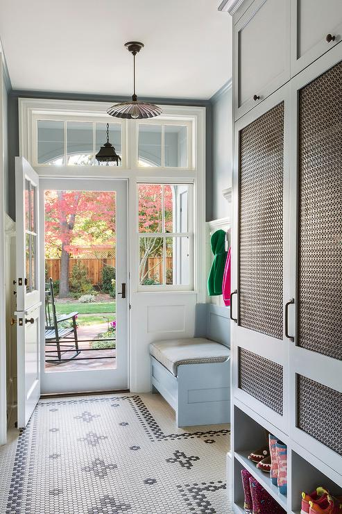Powder Blue Mudroom With Metal Grille Locker Cabinet Doors