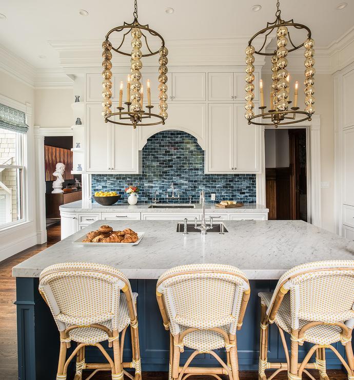 Blue And White Kitchen Design Ideas - Blue kitchen light fixtures