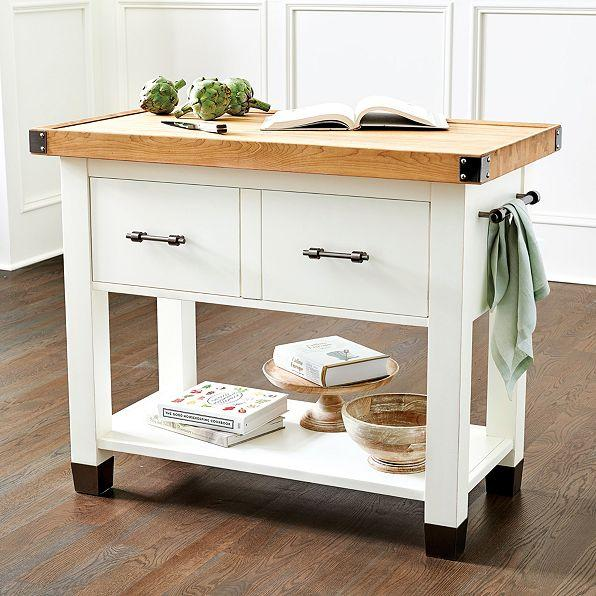 White Butcher Block Kitchen Table : Farmhouse Butcher Block Kitchen Island - Dining Room Furniture Furniture - World Market