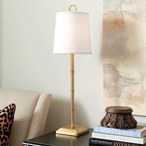 Bamboo gold buffet lamp