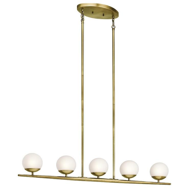 light Natural Brass Halogen Linear Chandelier