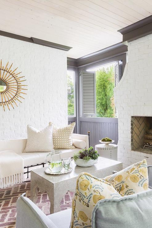 White Painted Brick Patio Walls Design Ideas