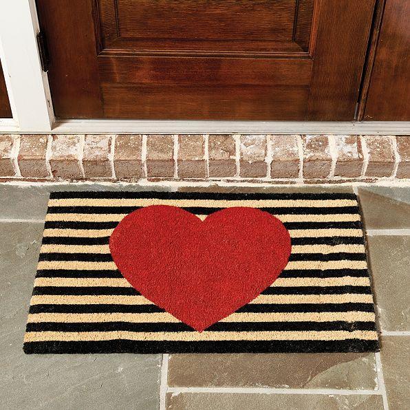 Heart Striped Woven Door Mat