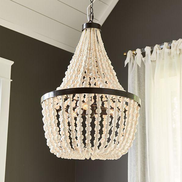 cara 3 light wooden beads chandelier - Wood Bead Chandelier