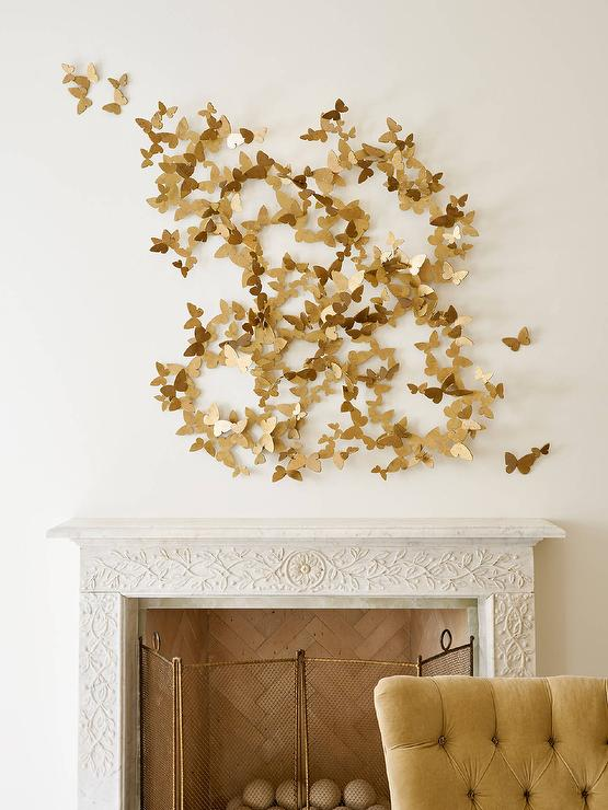 Gold Butterfly Art Over Ornate Fireplace & Gold Butterfly Art Over Ornate Fireplace - Transitional - Living Room